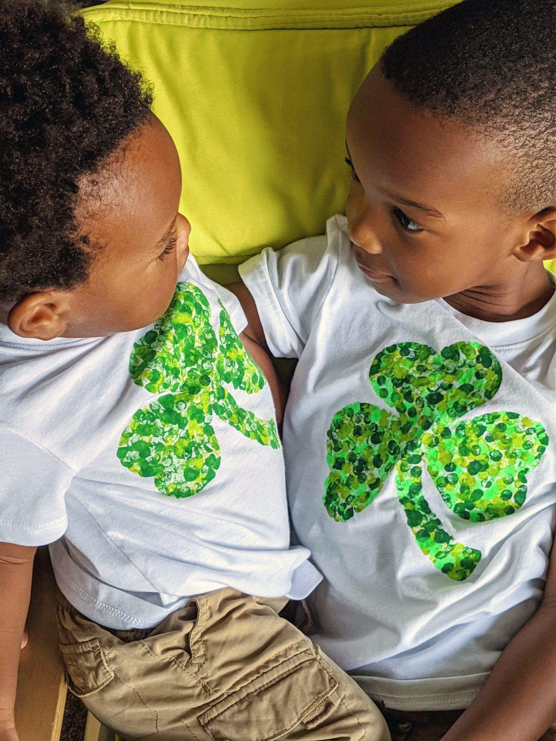 brothers wearing DIY shamrock shirt
