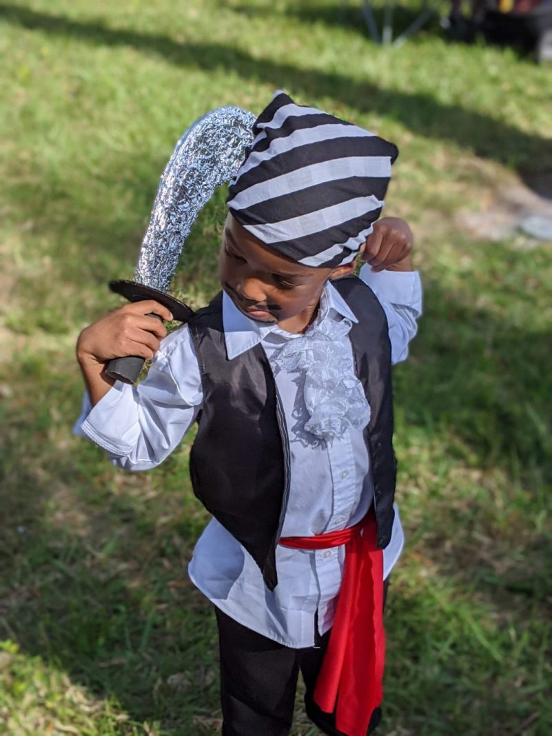 DIY pirate costume for kids including sword