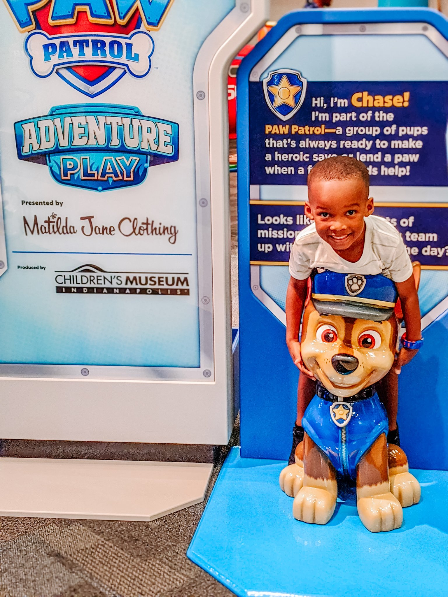 Preschool Black boy with Chase of the Paw Patrol