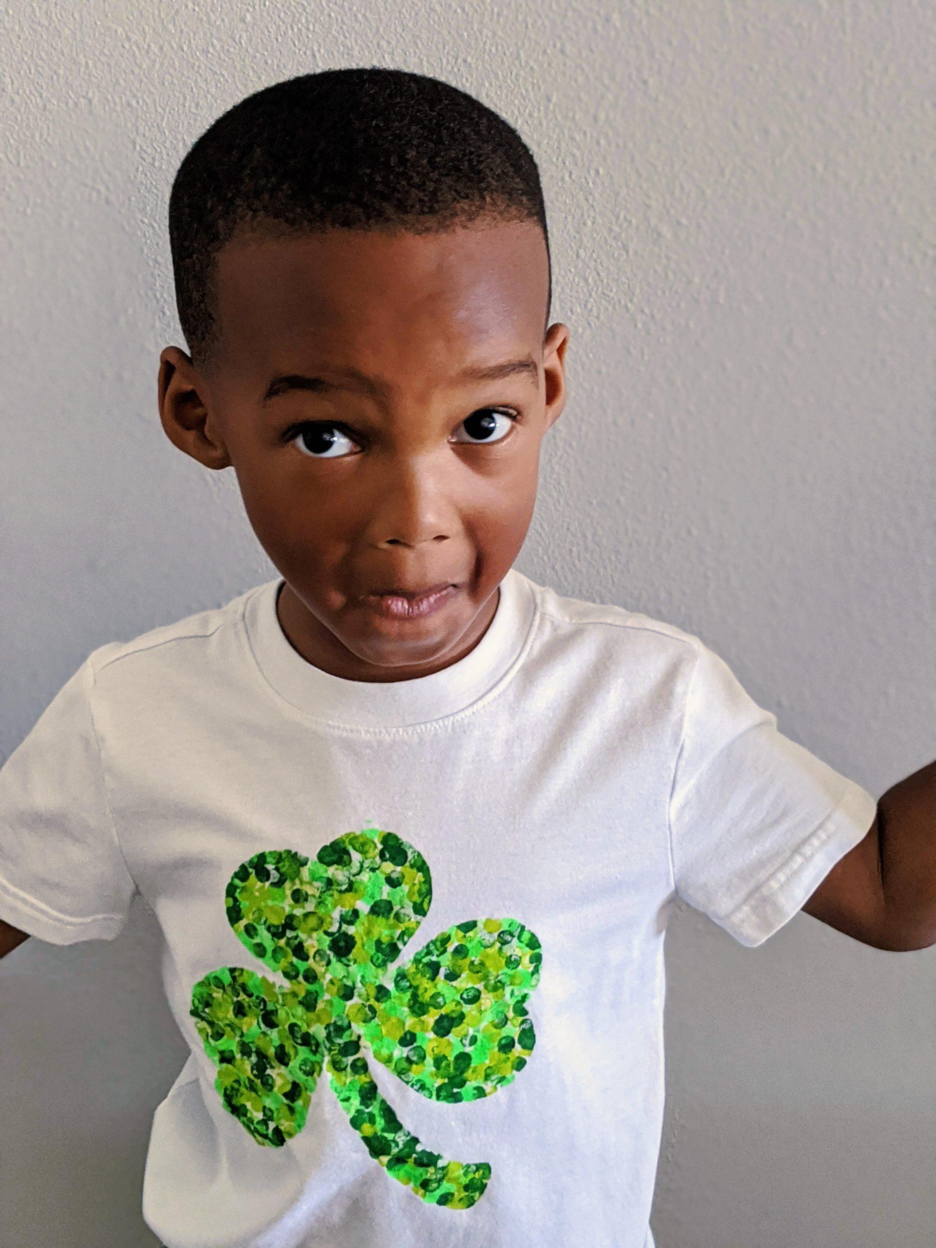 child wearing a DIY shamrock shirt