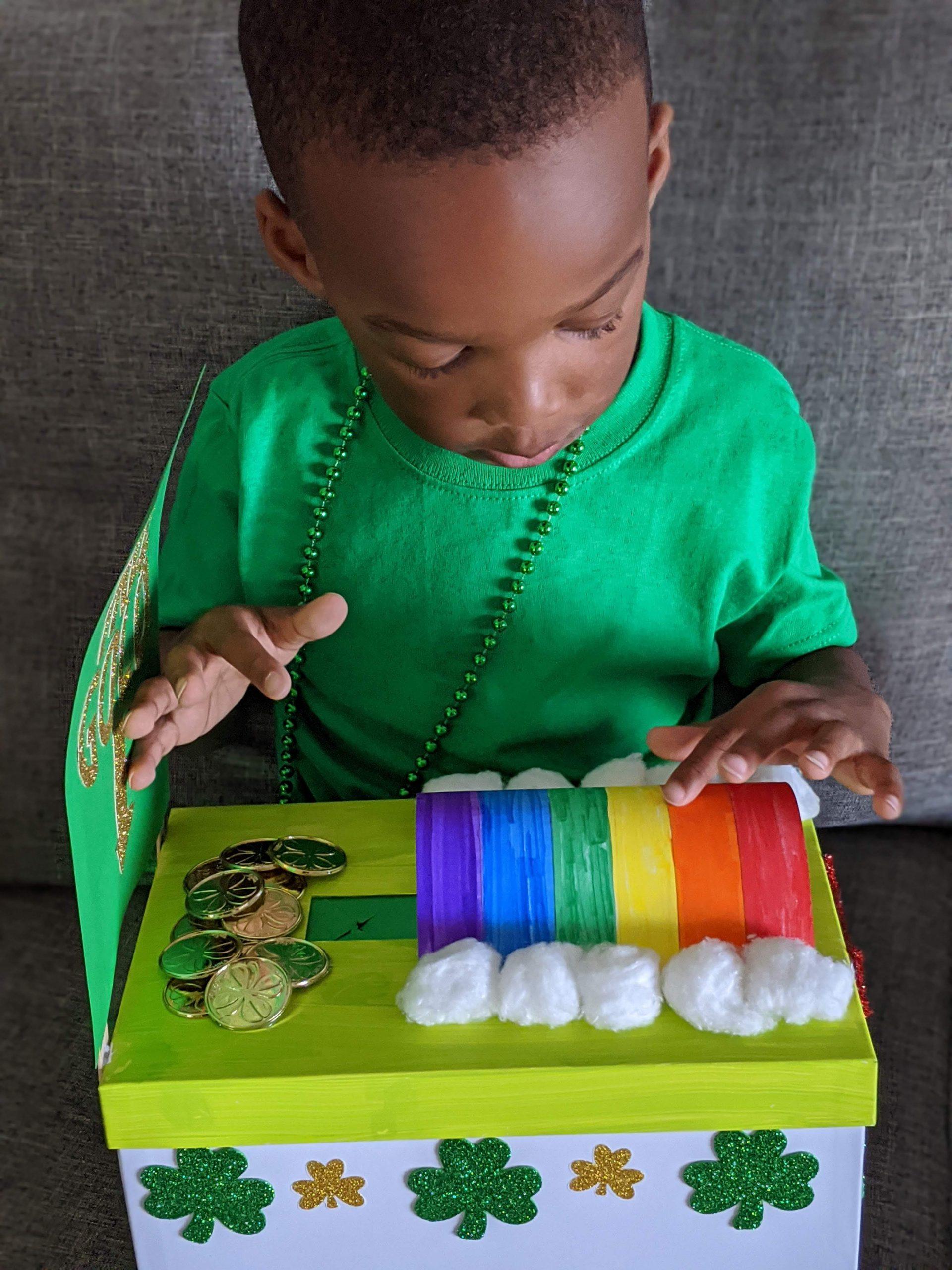 child holding leprechaun trap