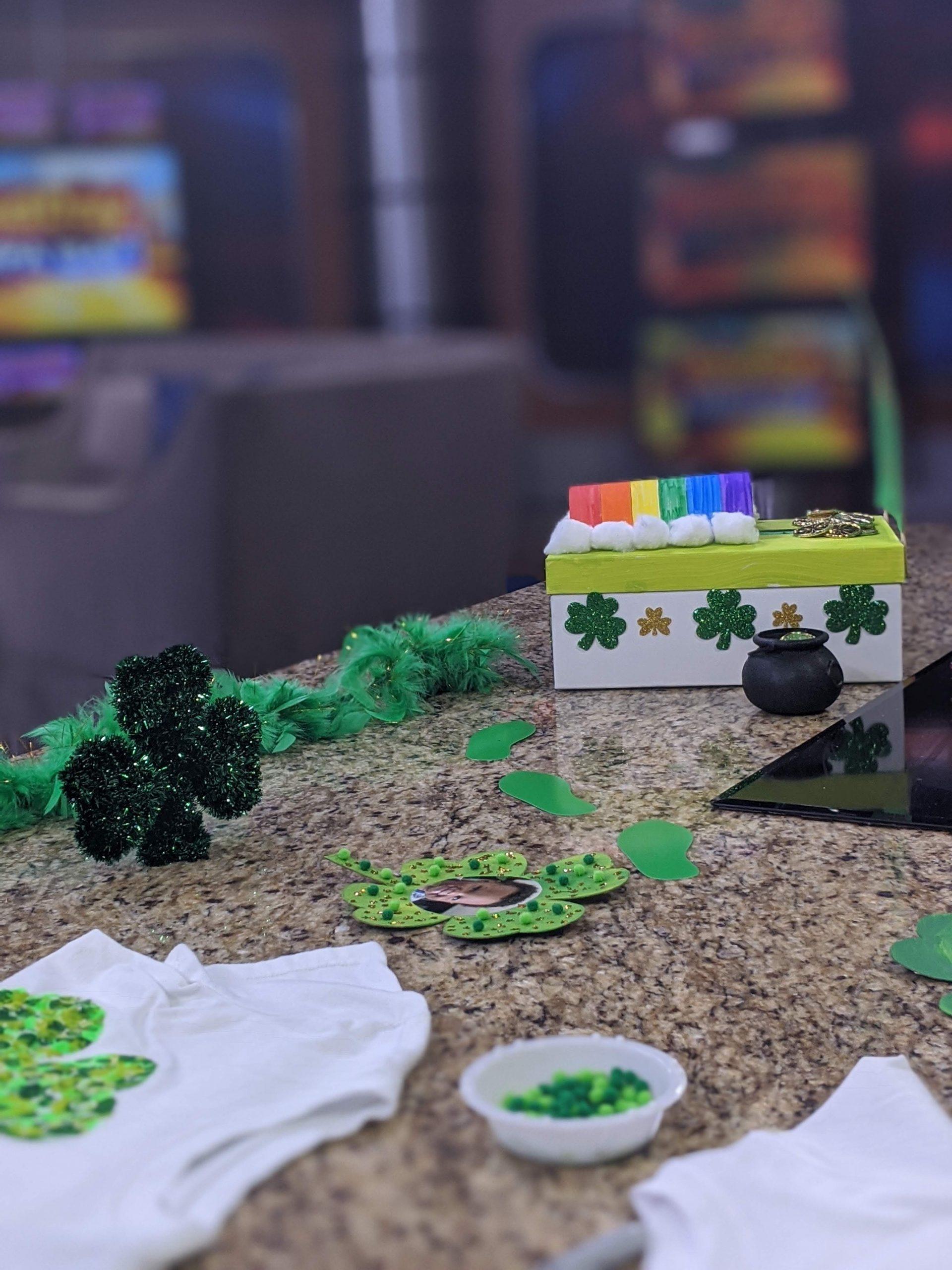 St. Patrick's Day display at Fox 13 News studio