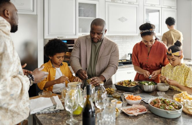 black family in the kitchen