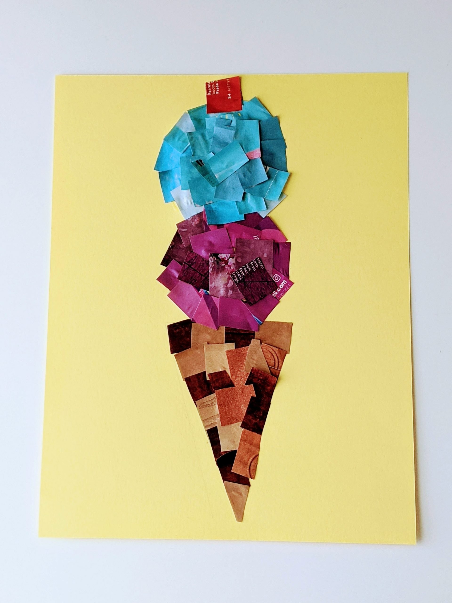ice cream cone magazine collage craft