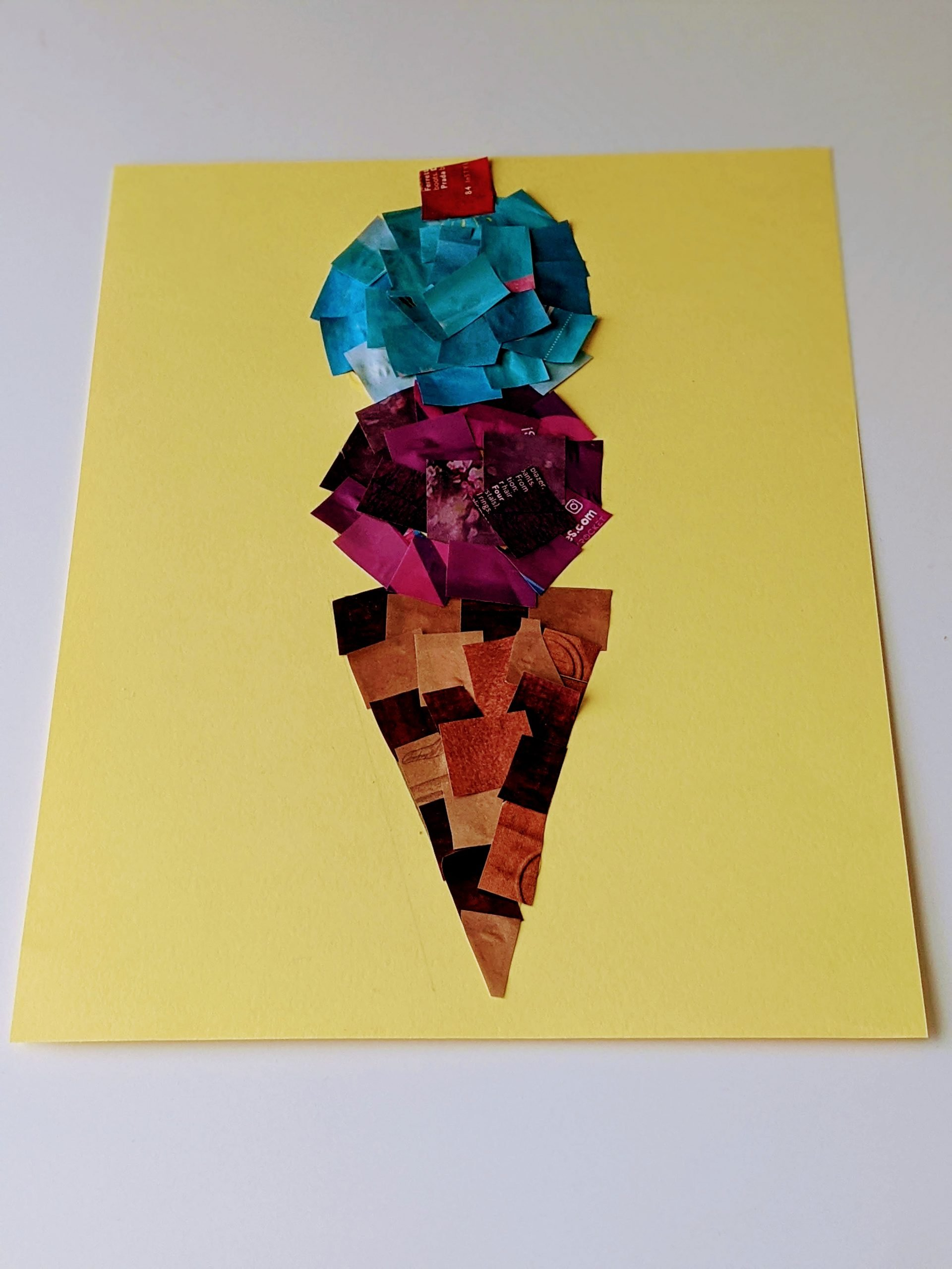 magazine collage ice cream cone craft