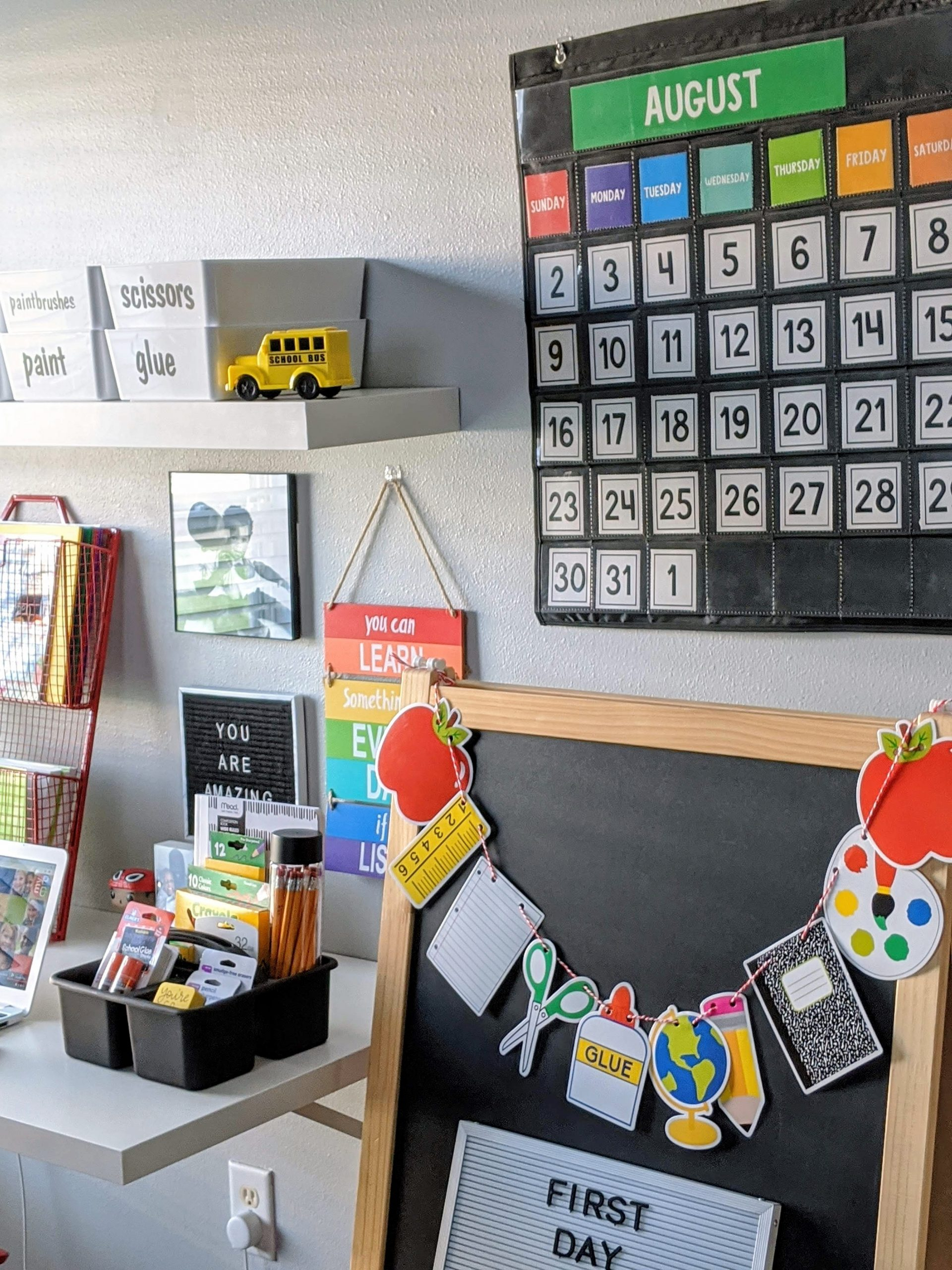 a creative learning workspace for kids attending virtual school