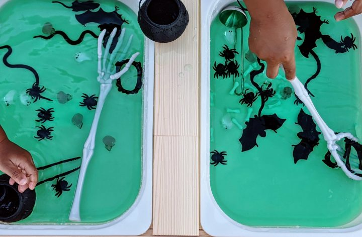 how to make a magical monster soup Halloween sensory bin for kids
