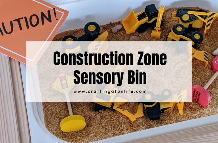 Construction zone sensory bin for kids