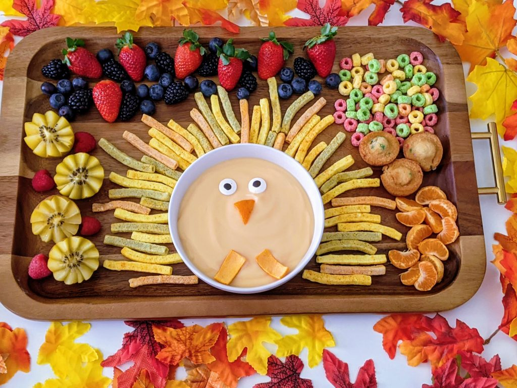 adorable turkey snack board for kids