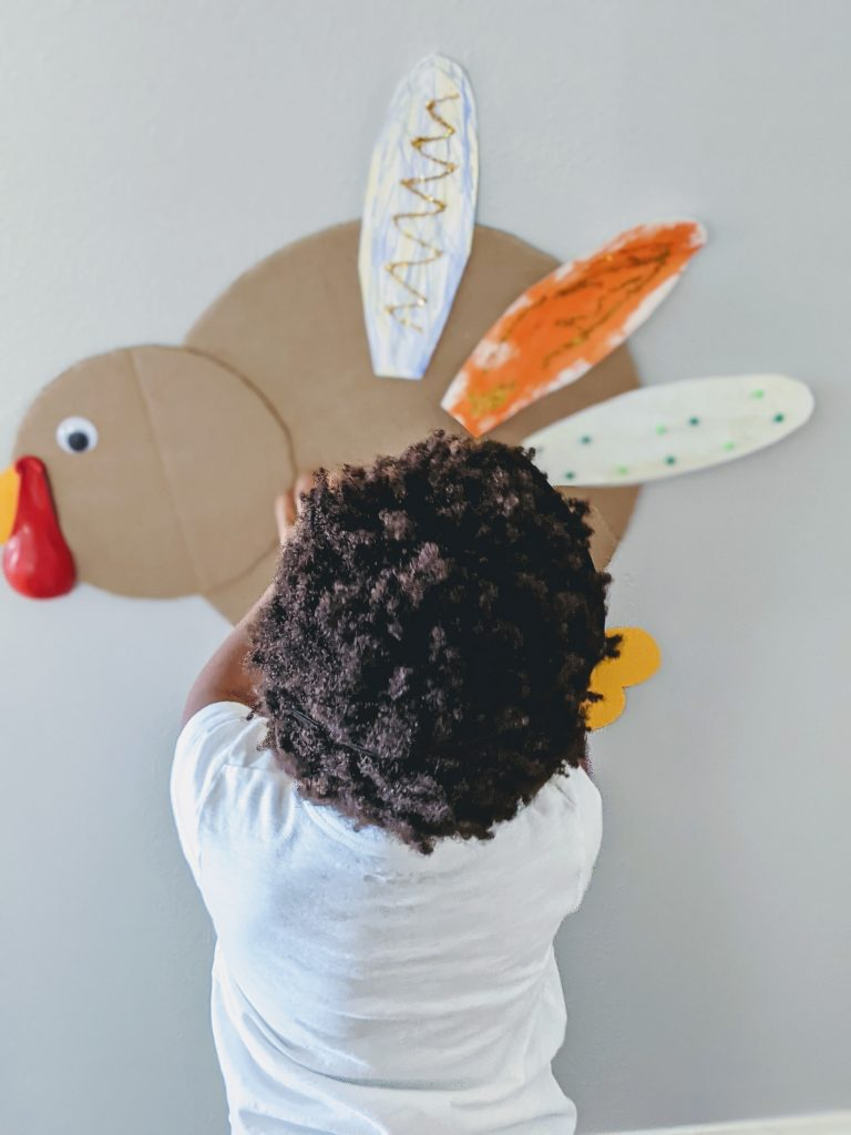 simple Thanksgiving game pin the feather on the turkey