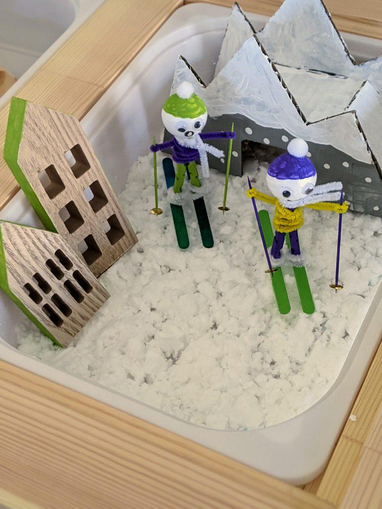 ski lodge winter sensory bin for kids
