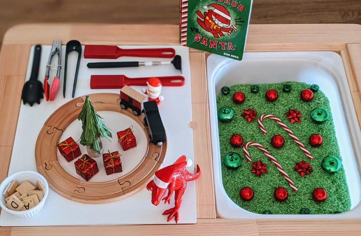 dinosaur Christmas sensory bin