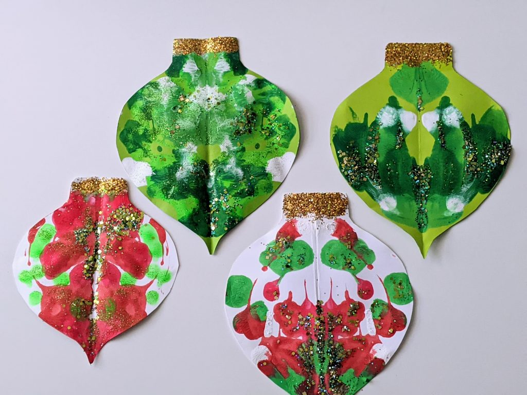 Christmas ornament symmetry painting for kids