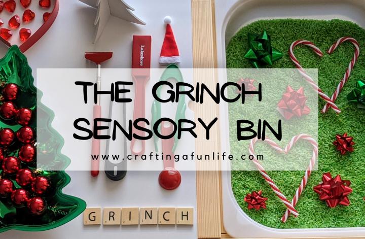 Grinch sensory bin for kids celebrating Christmas