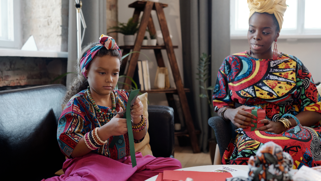 mother and daughter celebrating Kwanzaa