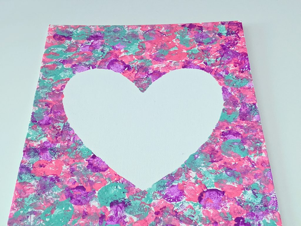 cotton ball heart painting for Valentine's Day
