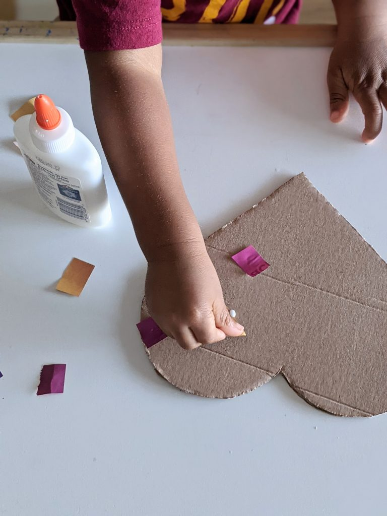 simple cardboard heart craft for kids