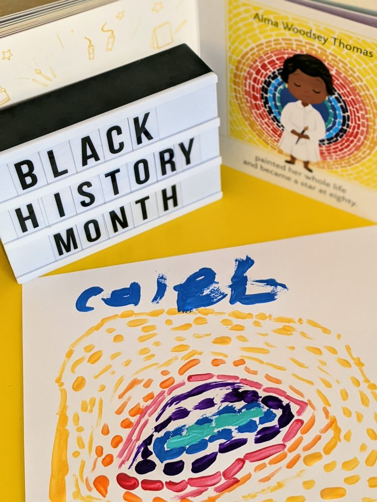 Black History Month Crafts featuring The Eclipse abstract painting inspired by Alma Woodsey Thomas
