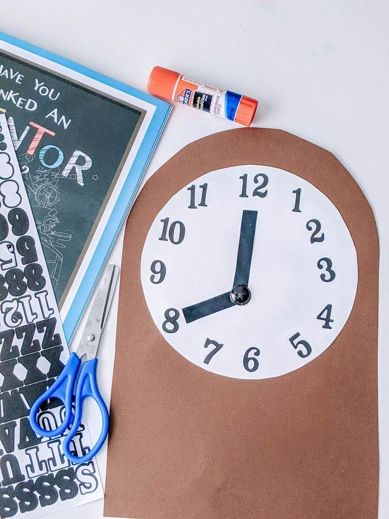 Black History Month crafts featuring a paper clock craft