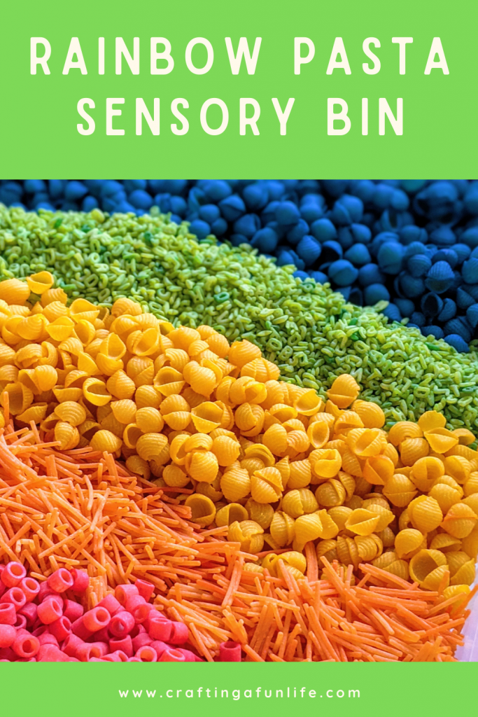 rainbow pasta sensory bin for kids