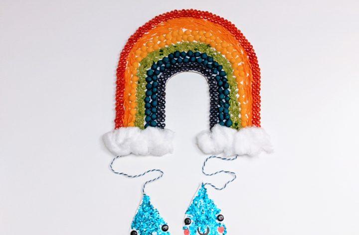 Cardboard rainbow craft for kids