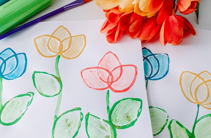beautiful tulip stamp art for kids